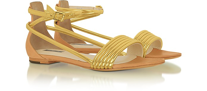 Georgie - Golden leather Sandal - Rachel Zoe