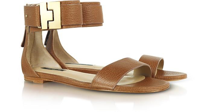 Gladys Camel Ankle-Cuff Flat Sandal - Rachel Zoe