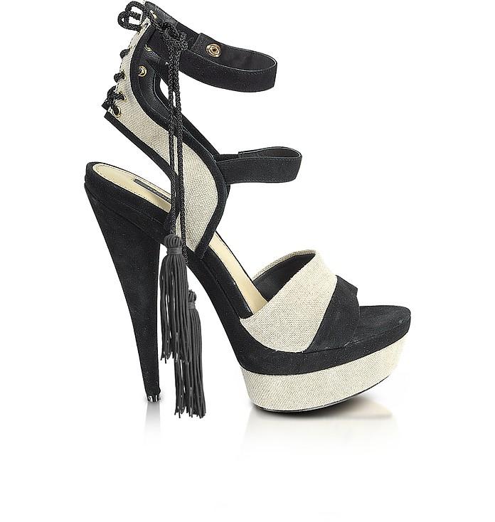 Blake - Linen and Suede Platform Sandal - Rachel Zoe