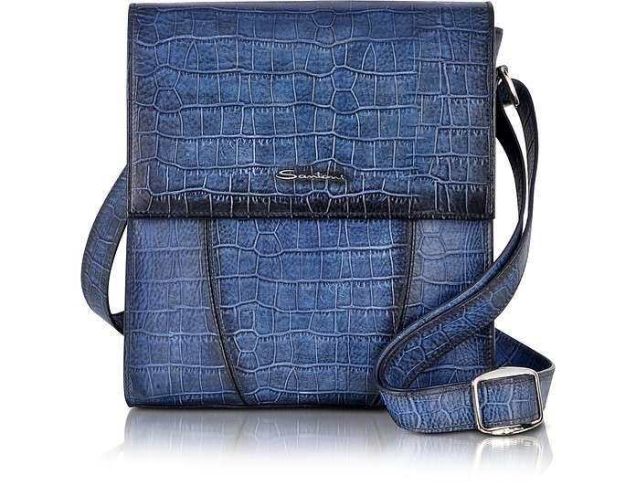 Kroko In Leder Messenger Tasche Aus Mit Print Blau wOPZkiuTlX