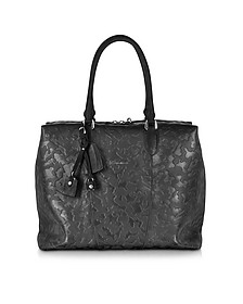 Black Camouflage Leather Tote