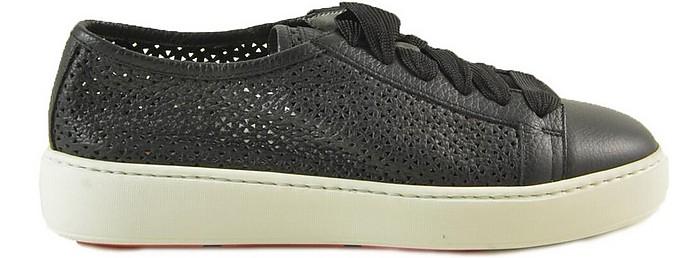 Black Perforated Leather Sneakers - Santoni