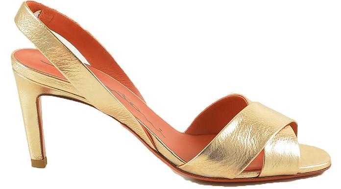 Laminated Gold Leather Sandals - Santoni