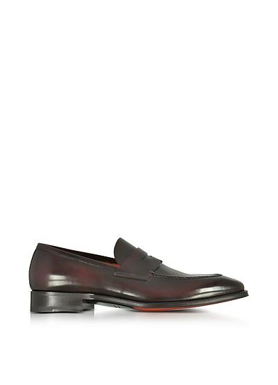 santoni Designer Shoes, Oscar Dark Leather Wingtip Derby Shoes