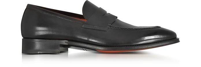 Duke Black Leather Penny Loafer Shoes - Santoni