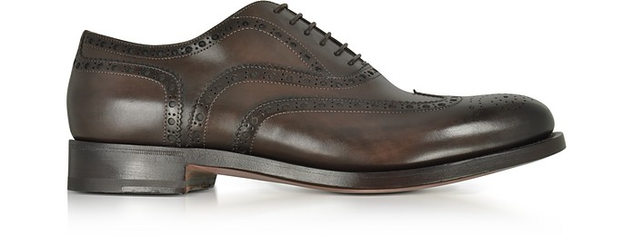 Oscar Dark Brown Leather Wingtip Derby Shoes - Santoni