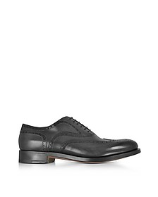 Oscar Black Leather Wingtip Derby Shoes - Santoni