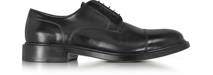 Oscar Black Leather Derby Shoes - Santoni