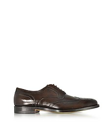 Wilson Dark Brown Leather Wingtip Derby Shoes - Santoni