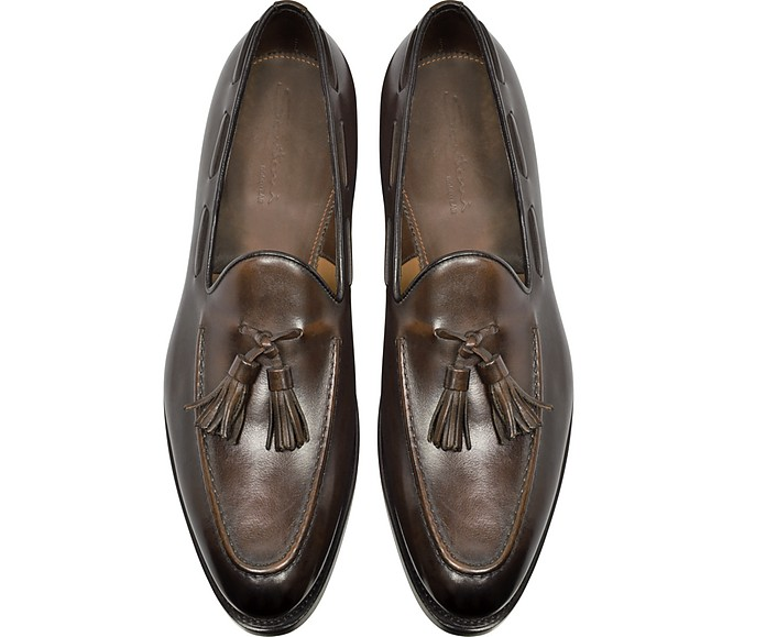 80984849eb17d Wilson Dark Brown Leather Loafer Shoes w/Tassels - Santoni. $754.00 Actual  transaction amount