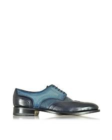 Two Tone Blue Leather Wingtip Derby Shoes  - Santoni