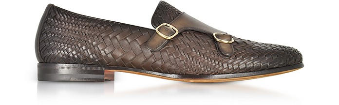 Dark Brown Woven Leather Double Monk Strap Shoes - Santoni