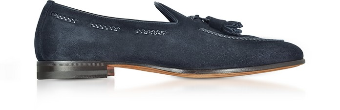 Dark Blue Suede Loafer w/Tassels - Santoni