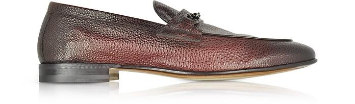 Brownish Red Stingray Leather Horsebit Loafer - Santoni