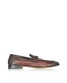 Brownish Red Stingray Leather Horsebit Loafer - Santoni