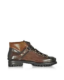 Color Block Leather Men's Ankle Boots - Santoni