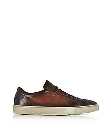 Brown Distressed Leather Low Top Men's Sneakers - Santoni