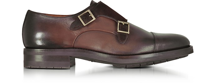Santoni  Brown Suede and Leather Double Monk Strap Shoes