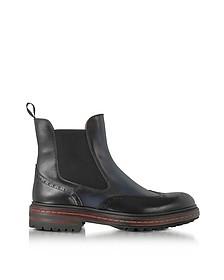 Midnight Blue Leather Wingtip Ankle Boots - Santoni