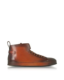 High Top Sneaker aus Leder in braun - Santoni