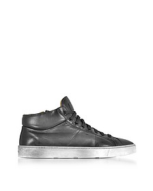 Dark Gray Washed Leather High Top Men's Sneakers - Santoni