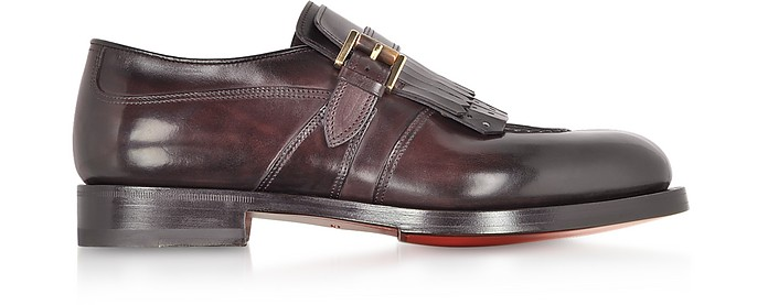 Burgundy Fringed Single Buckle Loafer Shoes - Santoni