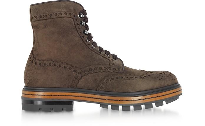 Brown Deer Suede Men's Boots - Santoni