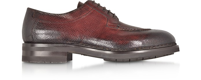 Burgundy Leather Derby Shoes w/Rubber Sole - Santoni