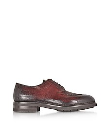 Burgundy Leather Derby Shoes w/Rubber Sole