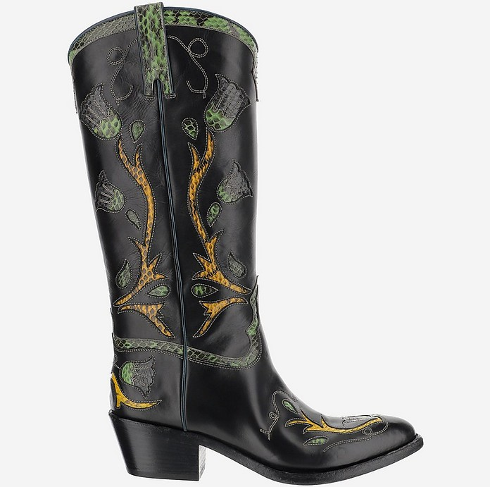 Black Leather Boots w/Embroidery - Sartore