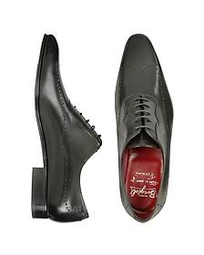 Handmade Black Italian Leather Wingtip Dress Shoes  - Fratelli Borgioli