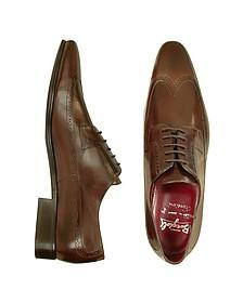 Handmade Brown Italian Leather Wingtip Dress Shoes  - Fratelli Borgioli