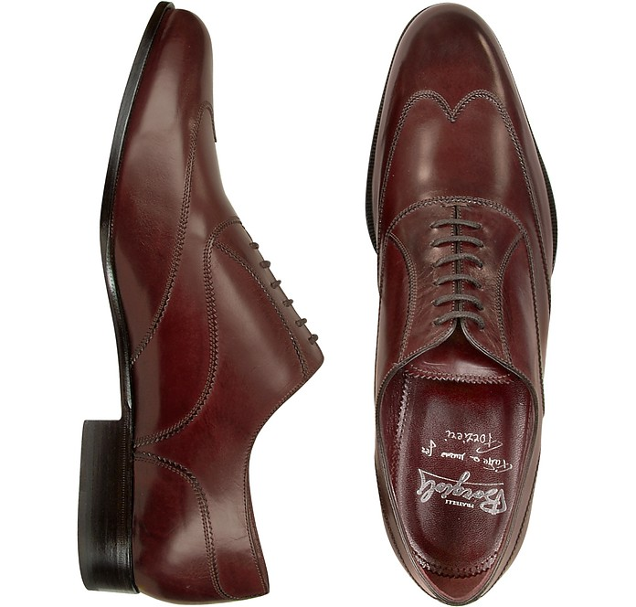 Handmade Burgundy Italian Leather Wingtip Oxford Shoes  - Fratelli Borgioli