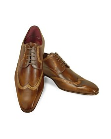 Handmade Light Brown Italian Leather Wingtip Dress Shoes  - Fratelli Borgioli