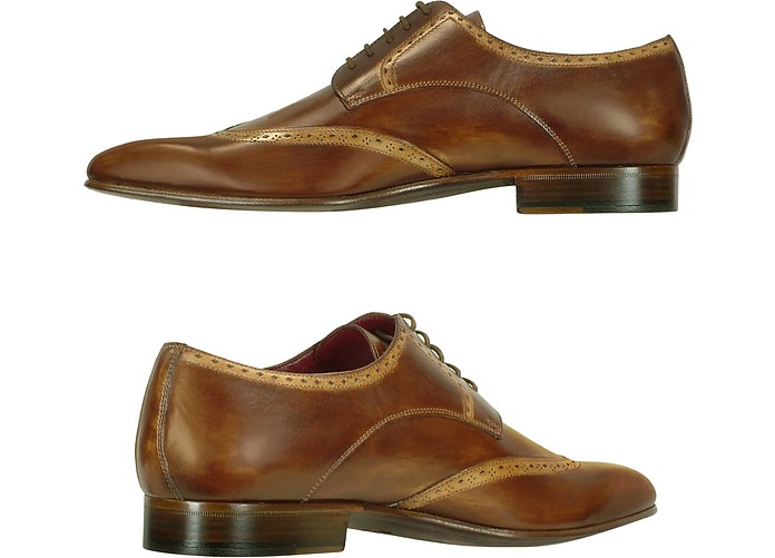 17dd53f5c6ff4 Handmade Light Brown Italian Leather Wingtip Dress Shoes - Fratelli Borgioli.  £381.98 Actual transaction amount