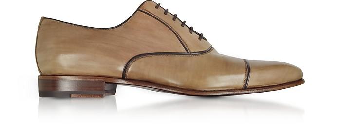 Cenere Brown Leather Oxford Shoes - Fratelli Borgioli