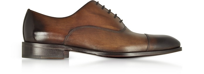Shaded Dark Brown Leather Oxford Shoes - Fratelli Borgioli