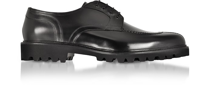Black Leather Casual Derby Extralight Sole - Fratelli Borgioli