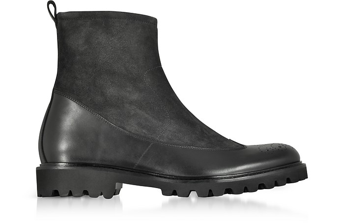 Black Suede and Leather Boots  - Fratelli Borgioli