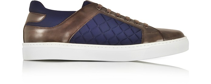 Ebony Hand-Painted Leather and Blue Quilted Nylon Men's Sneakers - Fratelli Borgioli