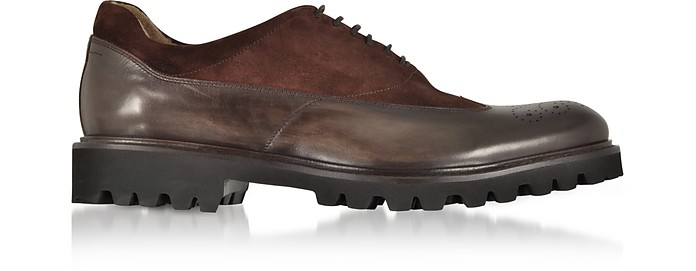 Ebony Leather and Suede Oxford Shoes - Fratelli Borgioli