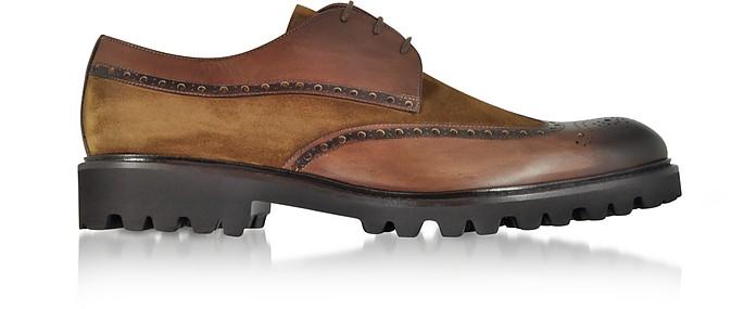 Walnut Leather and Suede Oxford Shoes - Fratelli Borgioli