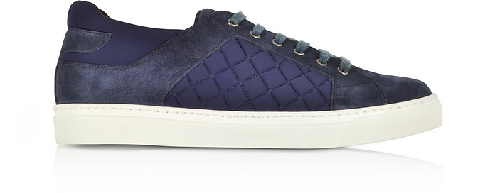 Navy Blue Suede and Quilted Nylon Men's Sneakers - Fratelli Borgioli
