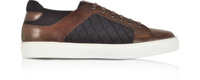 Coffee Brown Leather and Quilted Nylon Men's Sneakers - Fratelli Borgioli