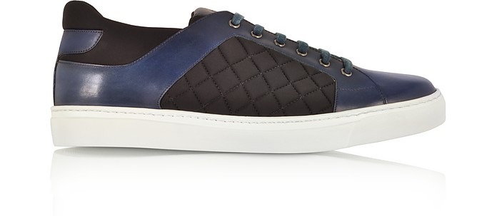 Navy Blue Leather and Black Quilted Nylon Men's Sneakers - Fratelli Borgioli
