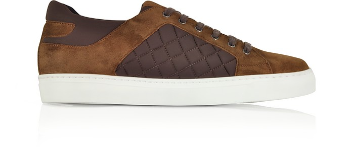 Cigar Brown Suede and Quilted Nylon Men's Sneakers - Fratelli Borgioli