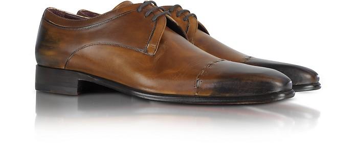 Brown Cap Toe Derby Shoes - Fratelli Borgioli