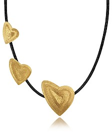 Etched Golden Silver Triple Heart Choker w/ Leather Lace - Stefano Patriarchi