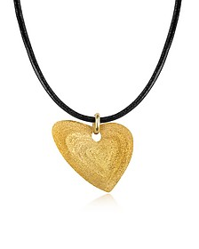 Etched Golden Silver Small Heart Pendant w/Leather Lace - Stefano Patriarchi