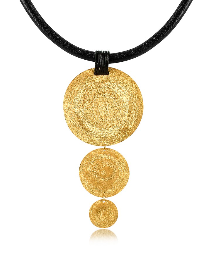 Golden Silver Etched Triple Round Pendant w/Leather Lace  - Stefano Patriarchi
